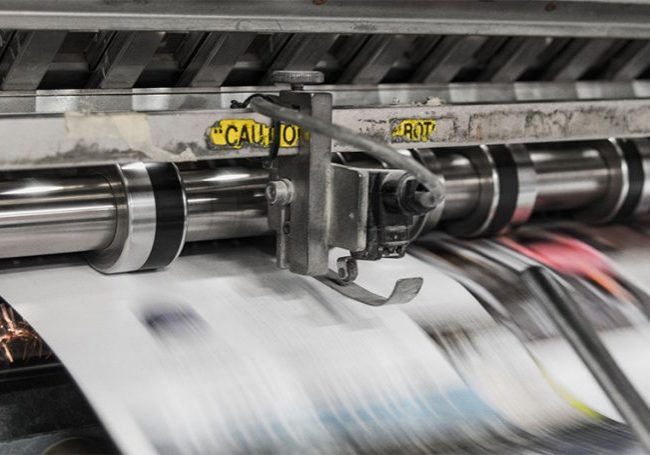 Printing press in action