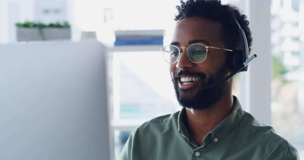 call center man smiling